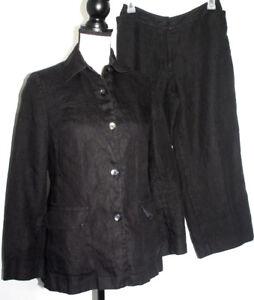 Talbots Womens Szs 2 & 4 Petite Irish Linen Black Pant Suit Jacket Lined