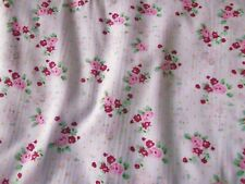 4.3m x White Floral Polycotton Fabric Remnant, Tiny Pink Flowers, 110cm wide