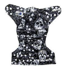 Modern Cloth Reusable Washable Baby Nappy Diaper & Insert, Black & White Skulls