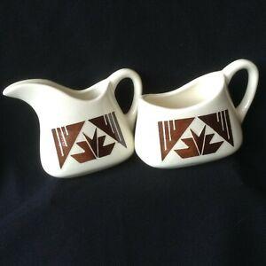 Lakota Sioux Pottery Creamer and Sugar Signed Kate Dismounts Glazed SP-RC-SD