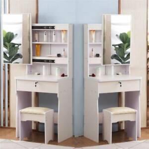 Dressing Vanity Table Set Makeup Desk Sliding Mirror W/Drawer Shelves Storage UK