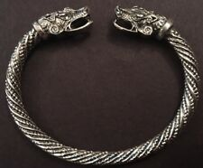 Adjustable Norse Viking Wolf Head Silver Open Bracelet Dragon Fenrir Bangle F2