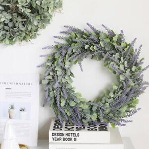 Artificial Flocking Eucalyptus Leaf Lavender Garland Wall Hanging Flower Wreath