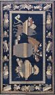Antique Pictorial Navy Blue Khotan Egyptian Oriental Area Rug Collectible 6'x10'