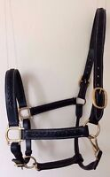 ENGLISH QUALITY LEATHER HEADCOLLAR PADDED/PLAITED BRASS FITTINGS BLACK/BROWN L-M