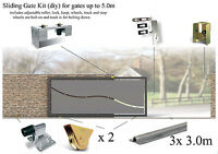Sliding Gate Kit for gates up to 5.0m (bolt down track latch and bolt on wheels)