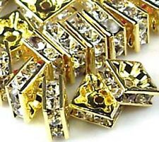 8mm Golden Rhinestone Square Rondelle Beads (30pc) , A Grade