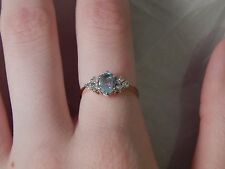 Fully Hallmarked 9 carat Gold Blue Topaz Ring Size L 1/2  - more jewelry in shop