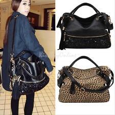 Fashion Women Leopard Sequin Faux Leather Ladies Handbag Shoulder Bag Tote Purse