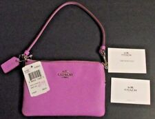 NWT COACH Crossgrain Leather Zip Pouch Wallet Wristlet 52392 Wildflower