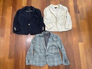 (3) Ann Taylor Size 12P 12 Petite Suit Coat Blazer Jackets NICE Beige Navy Gray