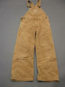 Carhartt Size 6 Boys Brown 100% Cotton Straight Canvas Overall Jeans T187