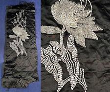Art Deco Black Silk Pearl White Crystal Beaded Flower Dress Fabric Fragment VTG