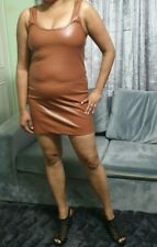 Tan Micro Mini Dress PVC Brown Dress Ladies Girls Pull On Short Party Dresses
