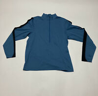 REI 1/4 Zip Long Sleeve Blue Mens Large Pullover Fleece Polyester Camping