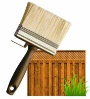 "4"" SHED FENCE & DECKING PAINT BRUSH GARDEN WALL TIMBER WOOD BLOCK PASTE WIDE"