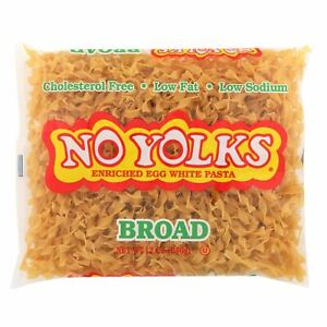 No Yolks - Enriched Egg White Pasta - Broad Noodles - Case Of 12 - 12 Oz.