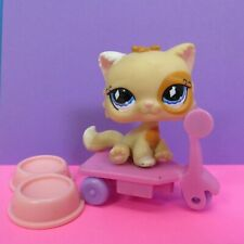 Lps Beige Persian Cat 521 Blue Eyes with Diamonds 2007 Feeding Bowl Pink Scooter