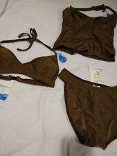 Aquabra Swimwear 3 pc Brand New w/Tags Brown+Gold