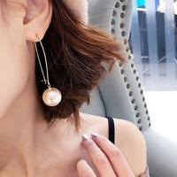 Damen Elegant Lang U Form Kunstperle Anhänger Ohrhänger Ohrringe Schmuck Quell