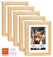 "Cavepop 5x7"" Mat 4x6"" Picture Frame 5 Pieces Set- Natural Wood"