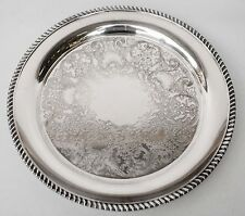 """W.M. Rogers Vintage Silver Plate, 15 1/2"""" Round Tray Serving Plater Stamped"""