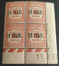 FRANCE STAMP 4 TIMBRES TAXE N° 63  UN FRANC SUR 60c COINS DATÉS 1931 Neuf