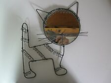 Rare - Vintage Metal Cat Shaped Frame and Mirror