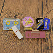Lot of 5 Vintage Enamel Brooch Pin Shirt Blouse Dress Collar Pins Tape Recorder