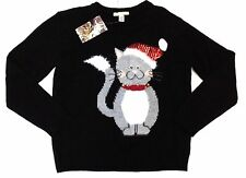 Love by Design Kitty Bell Ugly/Cute Holiday Christmas Cat Sweater Women XS Black
