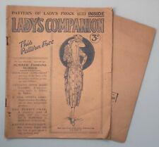 Lady's Companion antique 1920s magazine & original sewing pattern dress knitting