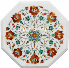 "12"" Marble Dining Coffee Table Top Carnelian Pietra Dura Inlay Living Room"