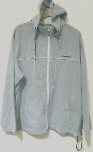Converse All Star Mens Blue White Pinstripe Hoodie 4L Cotton Zip Front Vintage