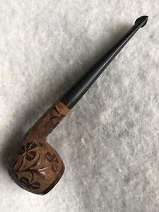 Vintage Carved Pipe 1950s Estate Bakelite Mouthpiece Irish Ireland Trefoil Retro