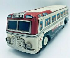 """1960's Vintage Tin Bus by Masudaya """"Modern Toys Japan"""" Battery Operated Untested"""