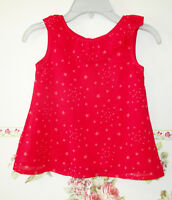 BEEBAY Red Layered Top Shirts Stars Frilled Girls 7Y Sleeveless Flared Summer