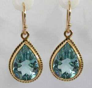 E120 Genuine 9K or 18K Solid Gold NATURAL Large Topaz Tear Drop Earrings 7.00ct