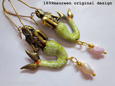 Art Nouveau Art Deco earrings 1920s vintage style mermaid earrings pearl drop