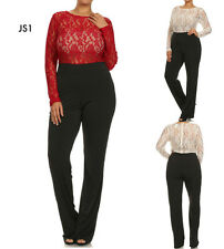 JS1 Womens Red Size 14/16 Lace Formal Evening Cocktail Party Lace Jumpsuit Plus