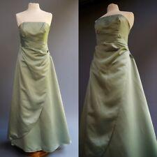 David's Bridal Salvia Verde Menta Satén sin Tirantes de Vestir Fiesta Talla 10