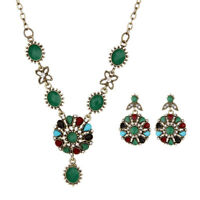 Fashion Women Flower Pendant Necklace Earrings Bride Wedding Jewelry Set Gift