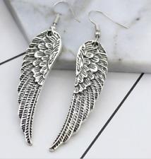 Dangle Biker Babe Sexy Earrings Angel Wings Silver Clubwear