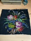 Antique Hand-Embroidered Tapestry Floral Panel with Beaded/Beadwork Detail