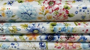 COLORFUL FLOWERS PRINT on ice white Lambskin leather skins 8sqf 0.7mm #A7797