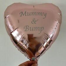 "Mummy & Bump 18"" Rose Gold Heart Helium Foil Balloon Baby Shower New Gender"