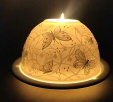 Superbe PHOTOPHORE LITHOPHANIE Porcelaine Limoges BERNARDAUD Papillons