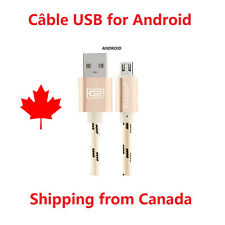 3 Ft Braided Aluminium Micro USB Data & Sync câble GOLD chargeur Android A016