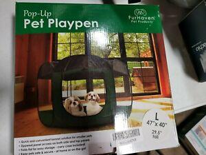 FurHaven Portable Pop-Up Mesh Pet Playpen green