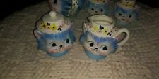 Lefton Miss Priss Kitty Blue Cream and Sugar