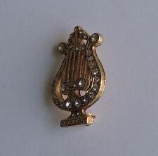 Studded Harp Brooch Dress Pin Estate Beautiful Gold Tone Rhinestone